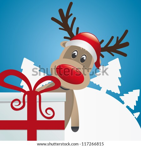 reindeer behind gift box red white ribbon - stock vector