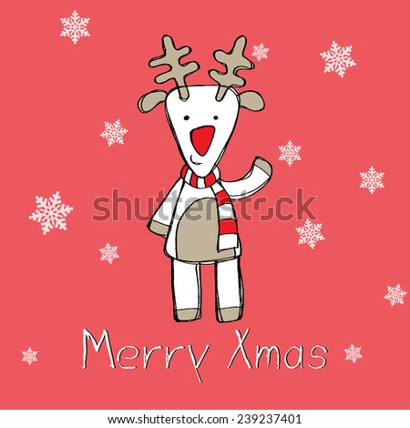 reindeer character greeting card. vector illustration - stock vector