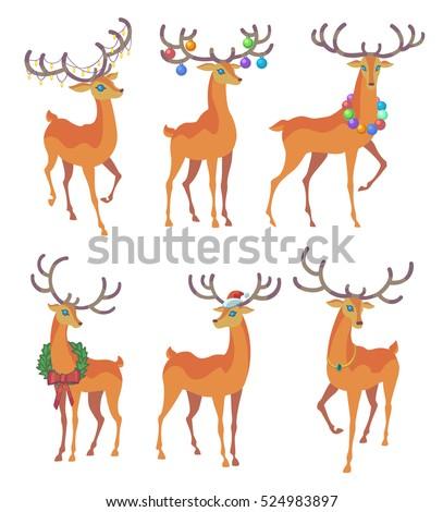Reindeer Christmas Icon Graceful Deer Collection Stock ...