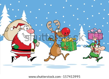 Reindeer, Elf  And Santa Claus Carrying Christmas Presents In Christmas Background - stock vector