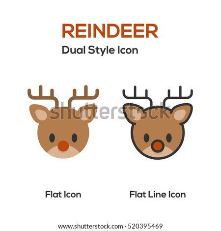 Reindeer Flat Icon And Flat Line Icon.