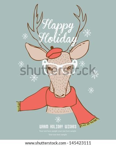 Reindeer Happy Holidays Card - stock vector