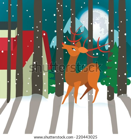 Reindeer in forest. Happy holidays - stock vector