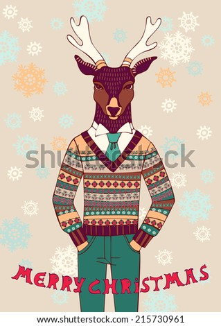Reindeer in knitted sweater. Merry Christmas and Happy New Year card