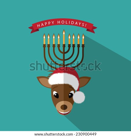 Reindeer Menorah Happy Holidays  flat design EPS 10 vector illustration - stock vector