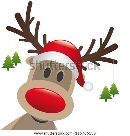 reindeer red nose hat christmas tree - stock vector