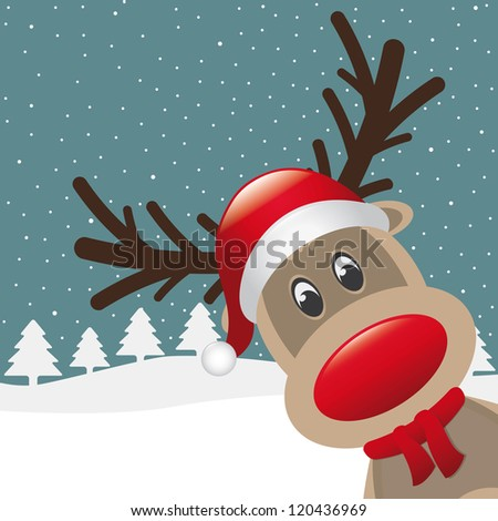 reindeer red nose hat scarf winter landscape - stock vector