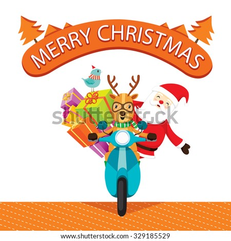 Reindeer Riding Motorcycle With Santa Claus, Merry Christmas, Xmas, Happy New Year, Objects, Animals, Festive, Celebrations - stock vector