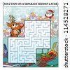 Reindeer's Christmas Maze puzzle (answer on a separate layer) - stock vector