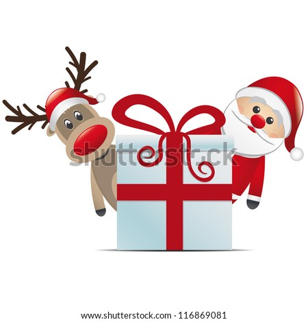 reindeer santa claus christmas gift box red - stock vector
