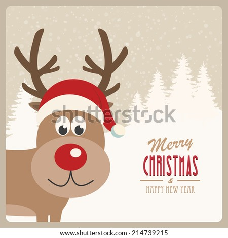 reindeer santa hat snowy background - stock vector