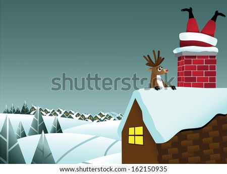Reindeer sees Santa Claus stuck in the chimney background. EPS 10 vector, grouped for easy editing. No open shapes or paths. - stock vector