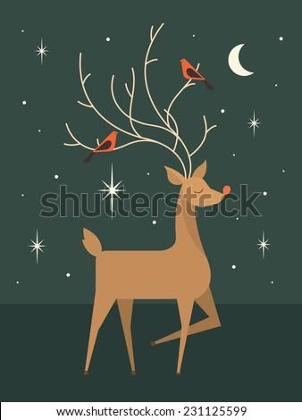 reindeer template vector/illustration - stock vector