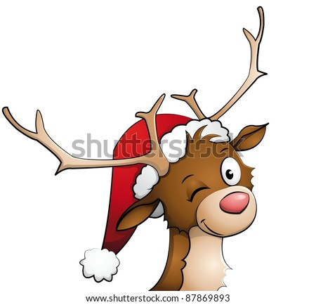 Reindeer with christmas cap on - stock vector