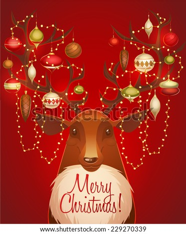 Reindeer with christmas decorated horns. Greeting card \ poster \ banner. Vector illustration. - stock vector