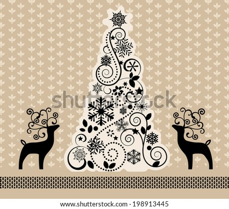 reindeer with decorative antlers decorative Christmas tree Nordic pattern  - stock vector