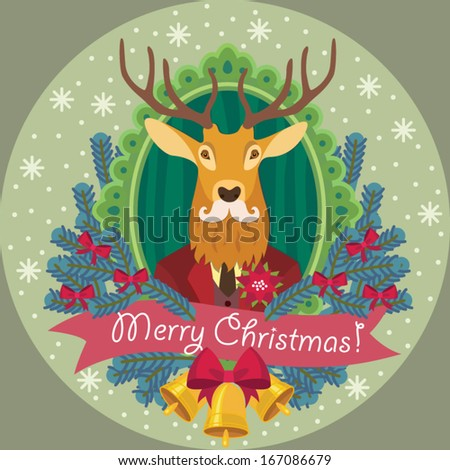Reindeer with fir Christmas wreath - Winter card - stock vector