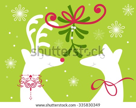 Reindeer with holly and berries - christmas kiss mistletoe - stock vector
