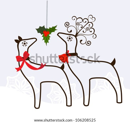 reindeer with mistletoe - stock vector