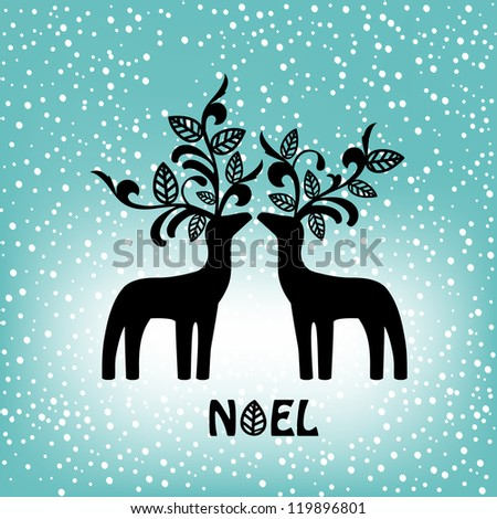 reindeer with organic decorative antlers - stock vector