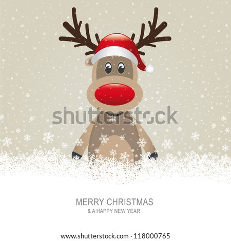 reindeer with red hat brown snow background - stock vector