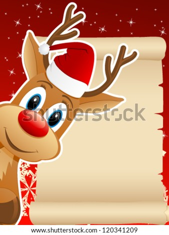 reindeer with Santa hat and Christmas background - vector illustration - stock vector