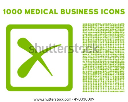 Reject icon with 1000 medical business eco green vector pictographs. Collection style is flat symbols, white background.