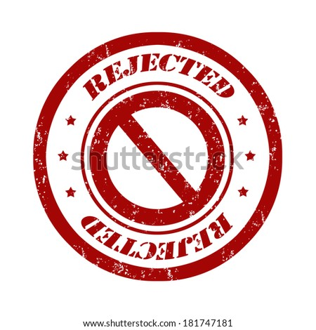 Rejected grunge rubber stamp red on white, vector illustration - stock vector