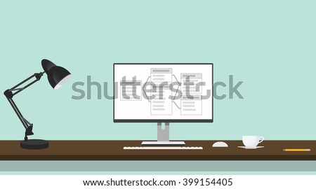 relational database table on screen of computer - stock vector