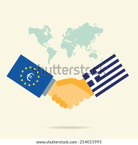 Relations between Greece and European Union. Flag,  Business international concept. Handshake. Vector illustration - stock vector
