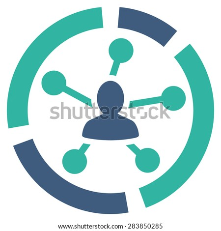 Relations diagram icon from Business Bicolor Set. Vector style: bicolor flat symbol, cobalt and cyan colors, rounded angles, white background. - stock vector