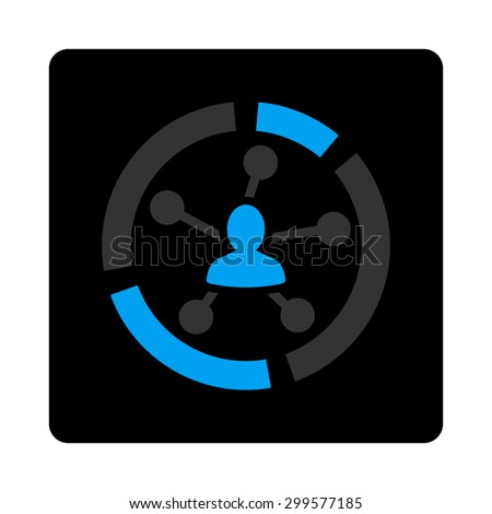 Relations diagram icon. Vector style is bicolor flat symbol, gray and light blue colors, black rounded square button, white background. - stock vector