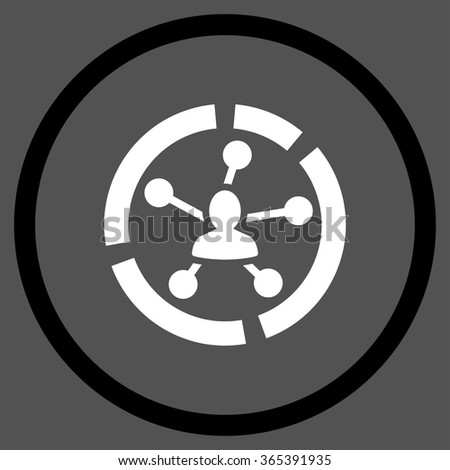 Relations Diagram vector icon. Style is bicolor flat circled symbol, black and white colors, rounded angles, gray background. - stock vector