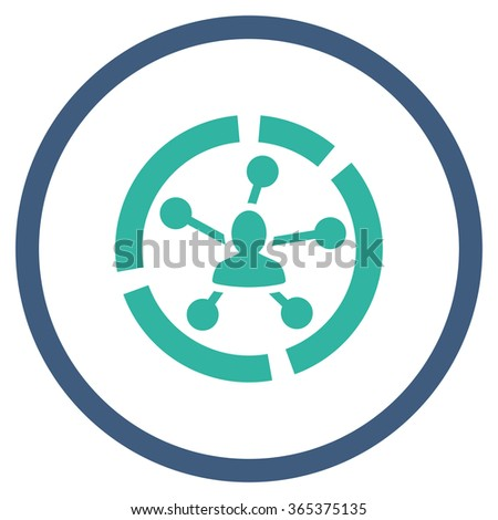 Relations Diagram vector icon. Style is bicolor flat circled symbol, cobalt and cyan colors, rounded angles, white background. - stock vector