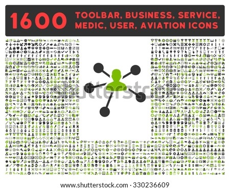 Relations vector icon and 1600 other business, service tools, medical care, software toolbar, web interface pictograms. Style is bicolor flat symbols, eco green and gray colors, rounded angles, white - stock vector