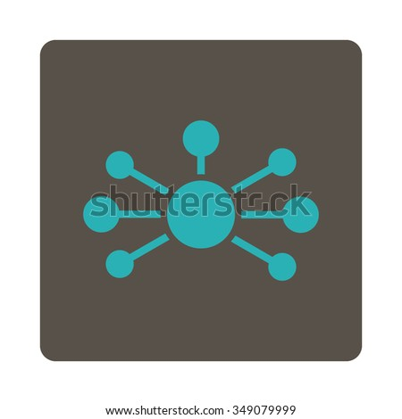 Relations vector icon. Style is flat rounded square button, cyan and grey colors, white background. - stock vector