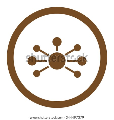 Relations vector icon. Style is flat rounded symbol, brown color, rounded angles, white background.