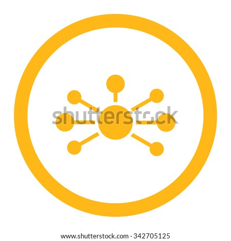 Relations vector icon. Style is flat rounded symbol, yellow color, rounded angles, white background. - stock vector