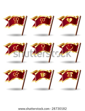 Relationship, sex, and gender icons on royal vector flag buttons - good for print, web, advertising, and promotion - stock vector