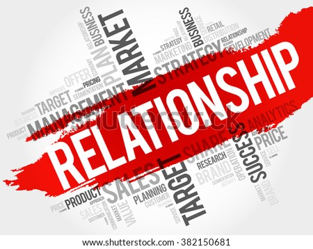 Relationship word cloud, business concept - stock vector