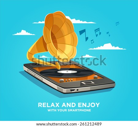 Relax and enjoy with your smartphone. Vector illustration. - stock vector