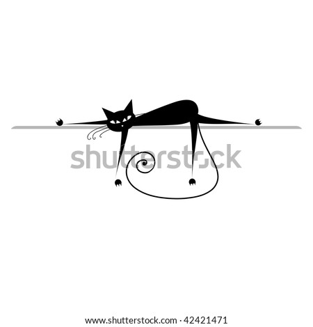 Relax. Black cat silhouette for your design - stock vector