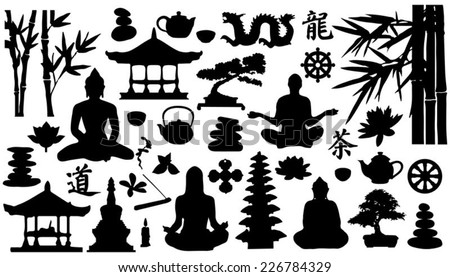 relax silhouettes on the white background - stock vector