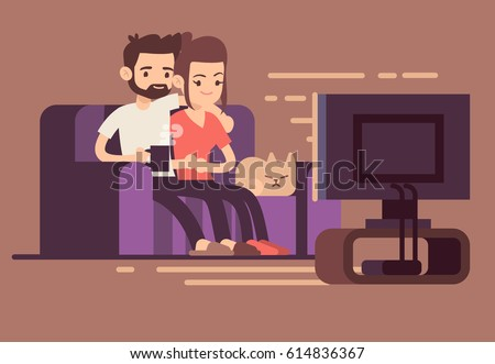Relaxed Happy Young Couple Watching Tv Stock Vector 614836367 - Shutterstock