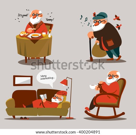Relaxed old man with white beard in various poses and situations. Portrait of senior expressing positivity and satisfaction. Contented and smiling cartoon man resting at home and go for a walk - stock vector