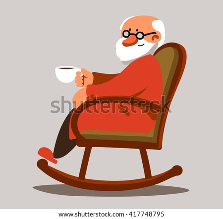 Relaxed old man with white beard sitting in rocking chair and drinking coffee or tea. Vector modern illustration - stock vector