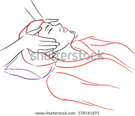 Relaxing beautiful woman having a massage for her skin on a face in beauty salon. Vector illustration/Series Spa Salon - Woman at spa  - stock vector