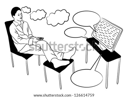 Relaxing Man Sitting on the Sofa and Watching TV - vector illustration - stock vector