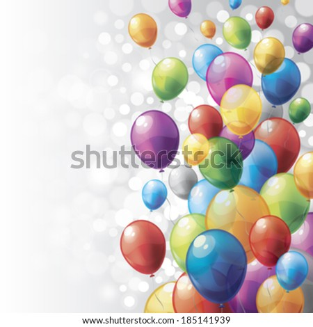 Released colorful balloons with gray ribbons, flying freely. - stock vector