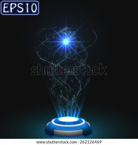 released energy particles swarm - stock vector